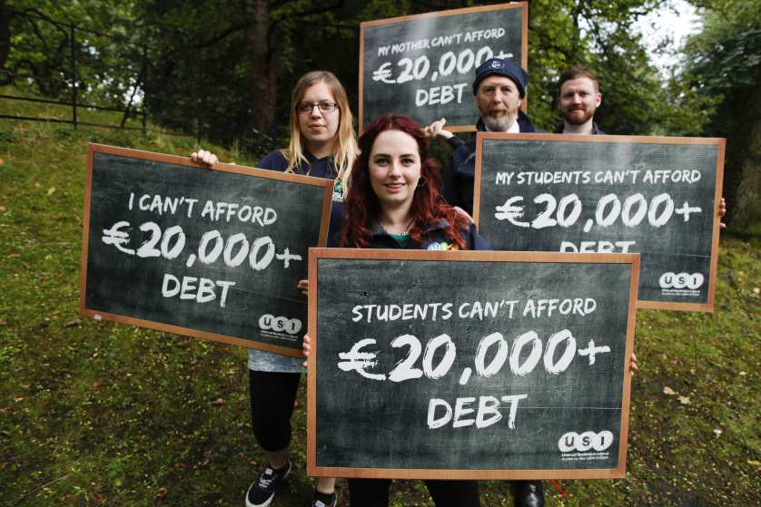 *** NO REPRODUCTION FEE *** DUBLIN : 26/9/2016 : Pictured at the USI announcement of their national demo expected to draw 5,000 students across Ireland were president of USI Annie Hoey (centre) with Joanna Siewierska from Irish Second Level Students Union, Ian Power from the National Youth Council and Aidan Kenny from Teachers' Union of Ireland. At the demonstration, USI will call on the Irish government and the Joint Oireachtas Committee on Education and Skills to make a historic long-term decision and invest in the publicly-funded third level education model as outlined in the Cassells report. USI said that an income-contingent loan scheme is not a viable solution to third level funding as a burden of €20,000+ debt upon graduation will deter people from applying to college. The union emphasised that the financial strain of college spans across all communities and groups including parents, children, staff and teachers - not just students.The demonstration is supported by members of the Coalition for Publicly Funded Higher Education including SIPTU, IMPACT, TUI, IFUT and National Youth Council of Ireland who will be joining the march starting at the Garden of Remembrance at 1pm on the 19th October. Picture Conor McCabe Photography. MEDIA CONTACT : dan.waugh@usi.ie