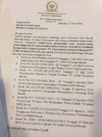 Anggota DPR Dorong Pertamina Laporkan Katebelece Novanto ke Bareskrim