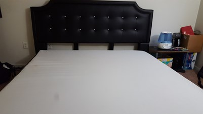 King Size Black Faux Leather Platform Bed With Headboard