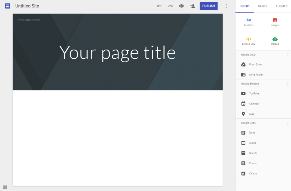 New Google Sites Blank