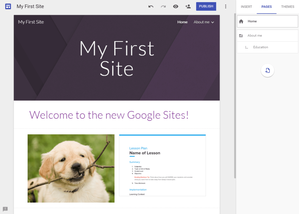 New Google Sites Pages