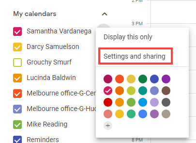 Settings and sharing menu option