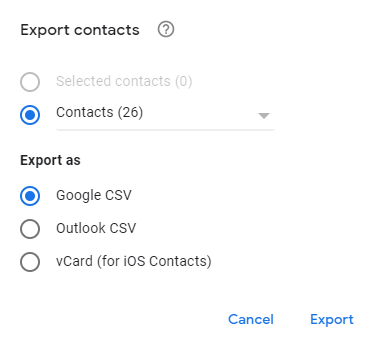 Export contacts screen