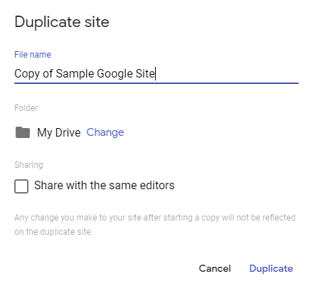 Duplicate site dialogue box