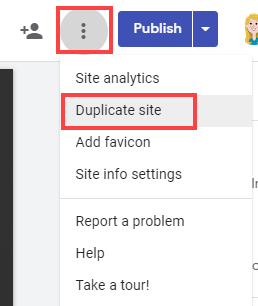 Duplicate site menu option