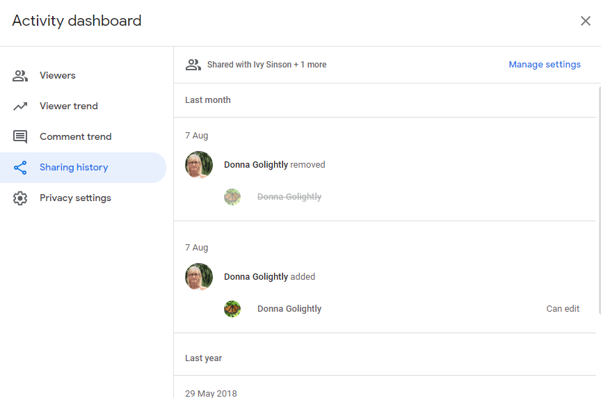 Activity Dashboard sharing history tab