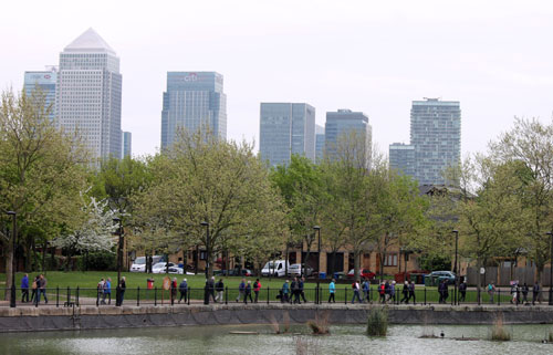 With Canary Wharf behind them