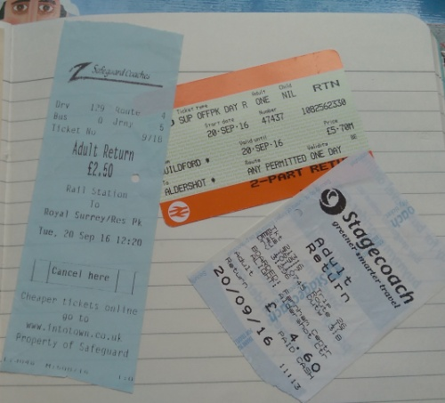 My collection of tickets for today