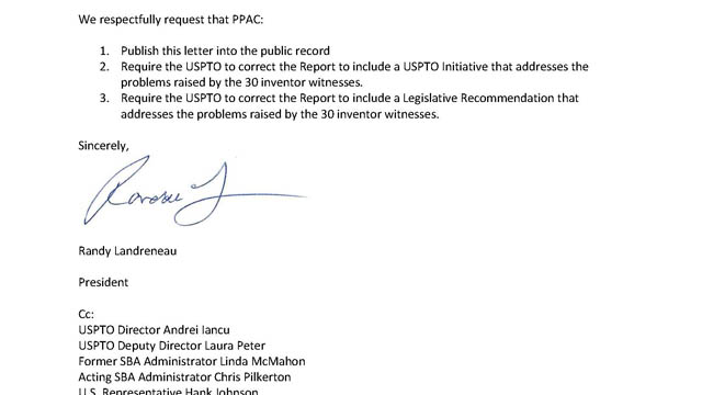 PPAC Letter from US Inventor