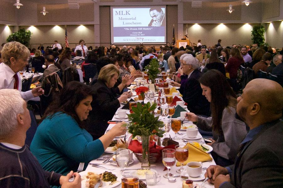 Guests+to+the+Martin+Luther+King+Jr.+Luncheon+are+served+their+meals+before+the+guest+speaker+takes+the+stage+during+the+2015+annual+event+in+Carter+Hall.+This+year%E2%80%99s+luncheon+will+include+guest+speaker+Major+General+Barrye+L.+Price%2C+the+first+African+American+to+obtain+a+doctorate+from+the+Department+of+History+of+Texas+A%26M+University.+