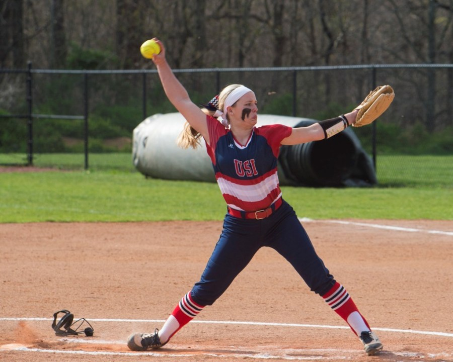Freshman+Jennifer+Leonhardt+winds+up+to+throw+a+pitch+during+a+game+last+weekend.+Leonhardt+was+named+GLVC+Pitcher+of+the+Week+for+the+third+time+this+season.+