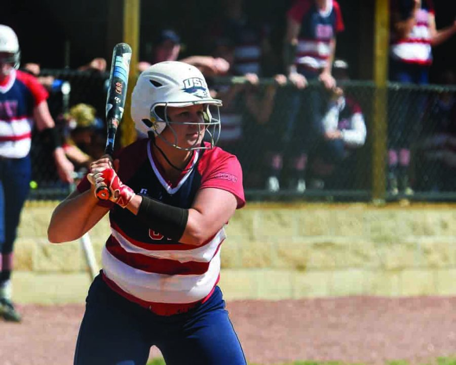 Senior+Haley+Hodges+prepares+to+swing+at+an+incoming+pitch+during+the+team%E2%80%99s+Senior+Day+game.+