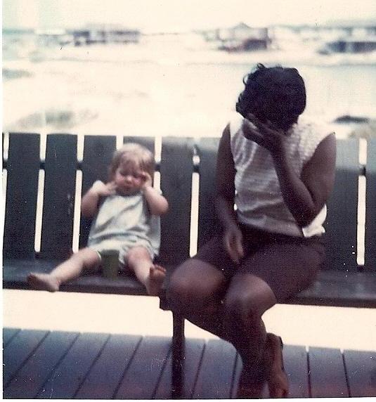 Lula hiding from the camera - Garden City Beach trip 1975