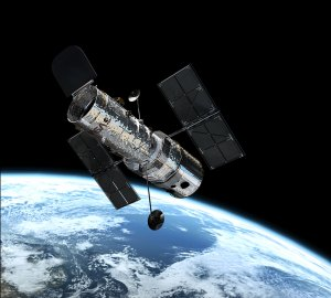 Hubble-teleskooppi maan kiertoradalla. Kuva: ESA Hubble.