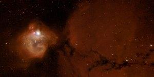 Tässä on massiivinen uusi tähti, joka valaisee sen sumun, josta se on syntynyt - oman kehtonsa. Kuva: ESA Hubble.