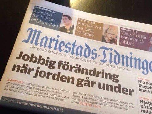 Mariestads-tidningen förutspår en jobbig förändring för oss alla…