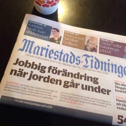Mariestads-tidningen förutspår att det blir en jobbig förändring när jorden går under.