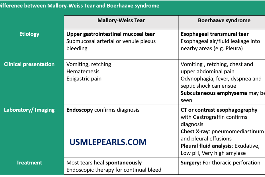 Mallory-weiss tear vs Boerhaave syndrome