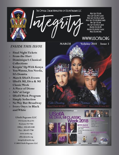 USofA Pageants Integrity Newsletter March 2018