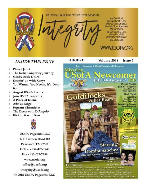 USofA Pageants Integrity Newsletter August 2018