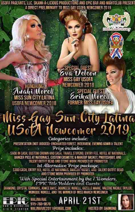 Miss Gay Sun City Latina USofA Newcomer 2019