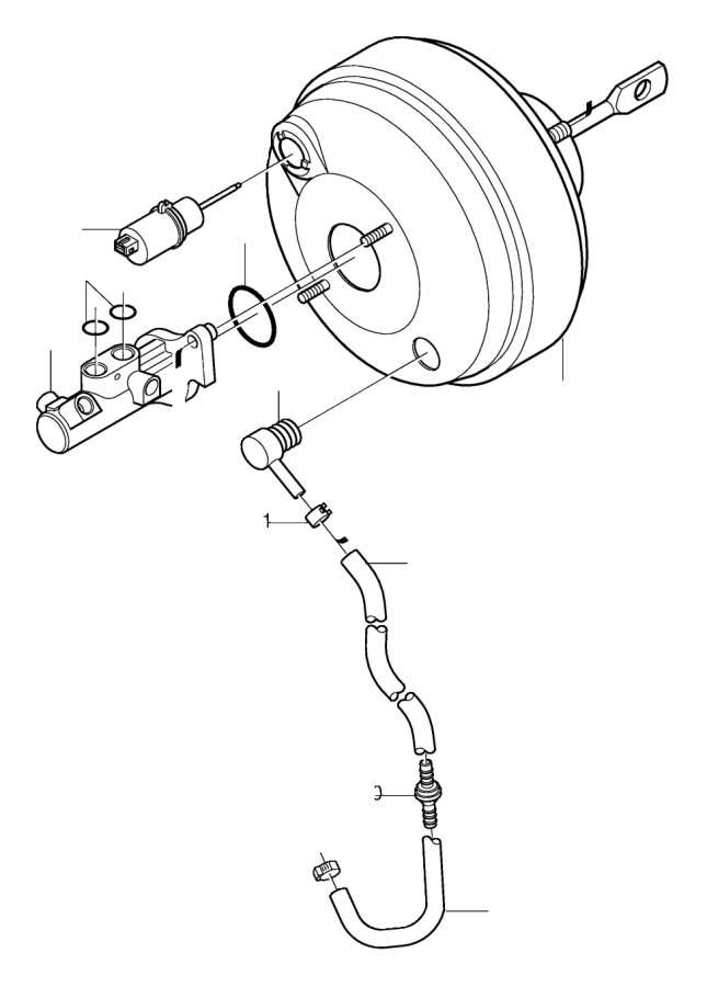 2001 Volvo S80 Hose. Master Cylinder, servoCylinder. TURBO