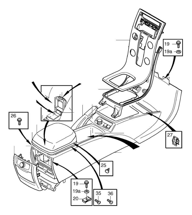 Volvo S40 Center Console (Interior code: 5X0X, 5X2X, 5XEX