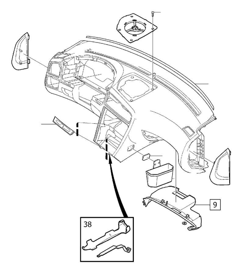 2001 Volvo V70 Instrument Panel Side Cover (Interior code