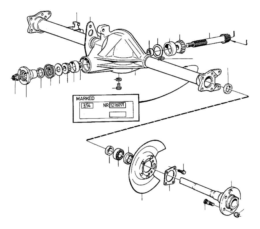 1990 Volvo 740 Wheel Stud. Live Axle. MARKED 1030, ABS