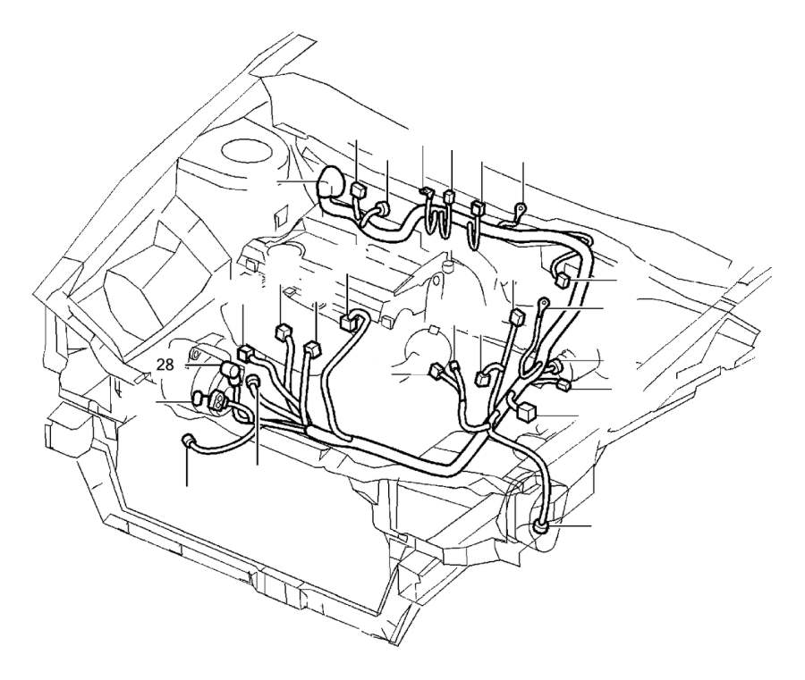 1998 Volvo V90 Tab Housing. Cable Harness. Connector