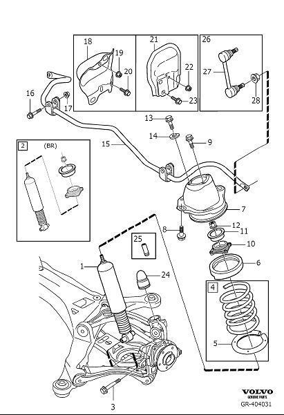 2001 Volvo V70 Suspension Stabilizer Bar Bracket Bolt