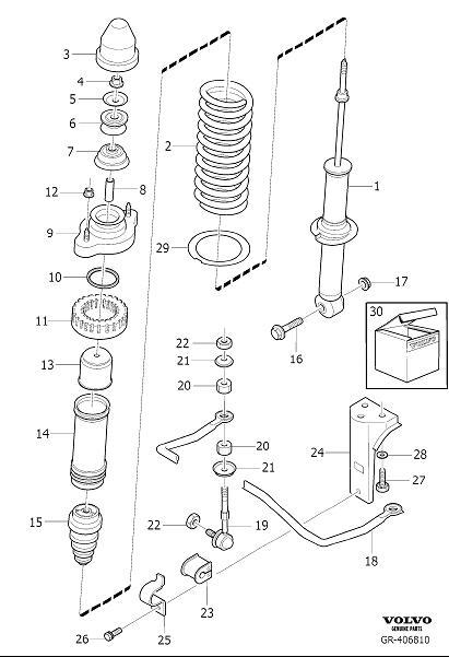 Volvo S40 Shock absorber. See, Marking, Suspension