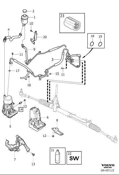 2013 Volvo S60 Power Steering Return Hose. RETURN PIPE