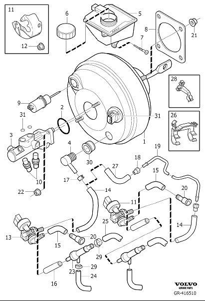 Volvo XC90 Switch. Master Cylinder, Power Brake Booster