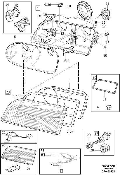 2001 Volvo V40 Clip. Hight, Adjustment, Headlamps