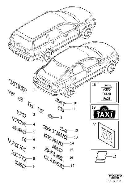 2005 Volvo V70 2.4l 5 cylinder Emblem. Emblems, Interior