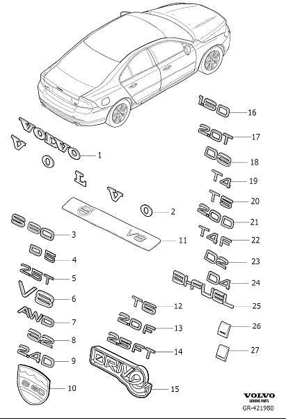 Volvo S80 Emblem. Emblems, EXECUTIVE, Silver, Interior