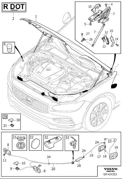 2017 Volvo V90 Hood Release Cable (Rear). WIRE BOX