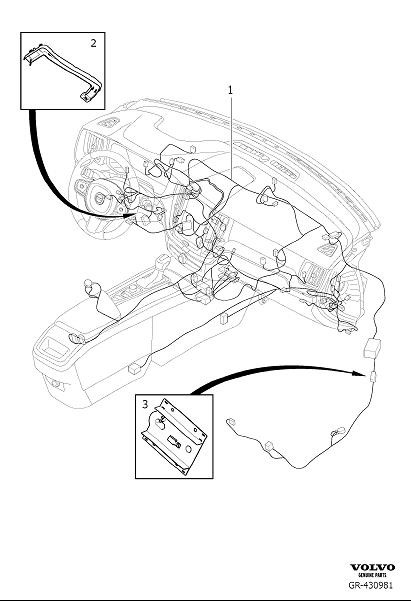 Volvo XC60 Wiring Harness. Cable Harness Dashboard. CH