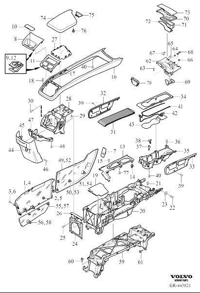 2003 Volvo Console Trim Panel. Variant code: ED02. Variant