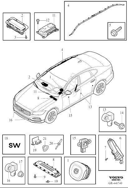 2017 Volvo S90 Airbag module. Restraint, System, Suppl
