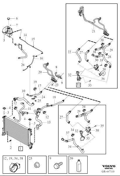 2017 Volvo S90 Flange screw. Engine, Bonnet, Assy