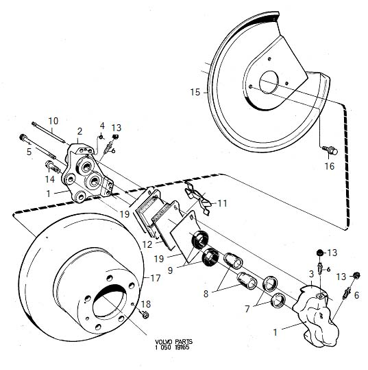 1984 Volvo Repair Kits. Wheel Brake, Non ventilated Disc