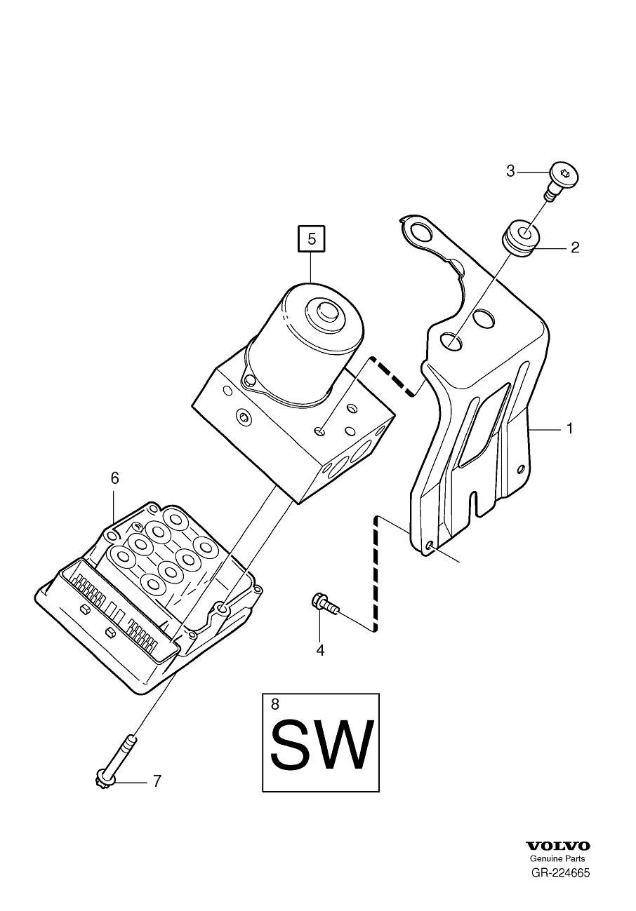 2005 Volvo Abs modulator bracket. Dstc. Hydraulic pump