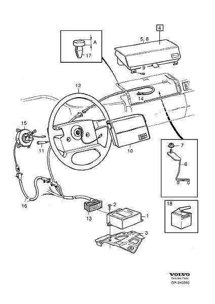 1997 Volvo 960 Gcp airbag Module. Refer to Service