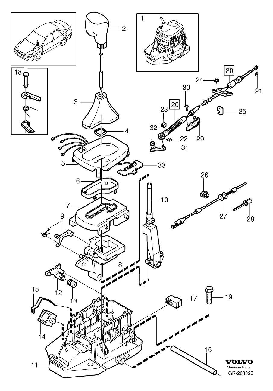 2006 Volvo S80 Gear shift lever knob. Automatic