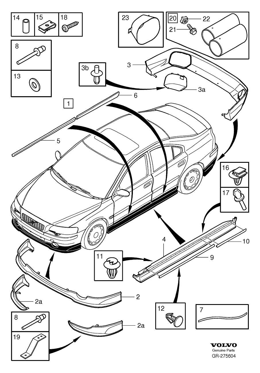 Volvo S60 Spoiler. SPORT. Air Guides. Body Kit. (Rear