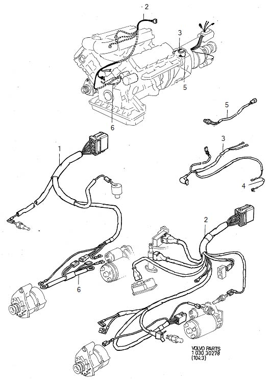 1982 Volvo 240 Wiring Harness. Cable Harness, Engine