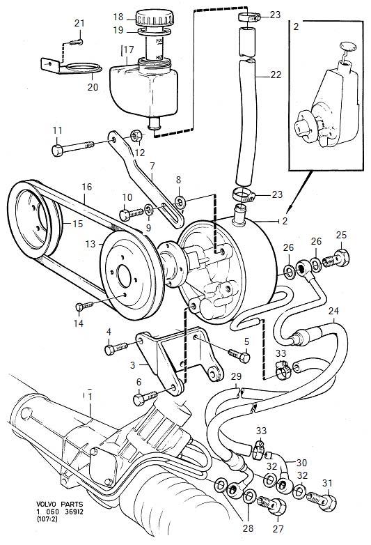 1984 Volvo 760 Cover. B27. Power Steering. Pump. Servo