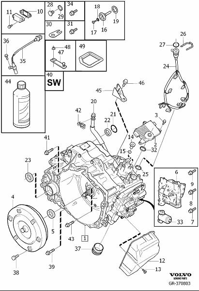 Volvo S80 Gasket. Gearbox, Automatic. Transmission
